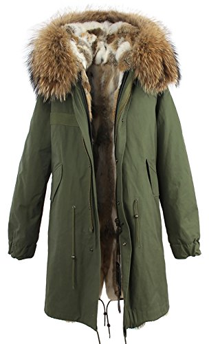 S.ROMZA Women Real Rabbit Fur Parka Upscale Long Hooded Coat Detachable Jacket Real Fur Liner (X-Large, Army Green & White Fur) by S.ROMZA (Image #1)
