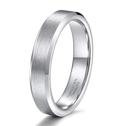 - 4mm Silver Tungsten Carbide Rings for Women Men Bevel Edges Comfort Fit Size 8.5