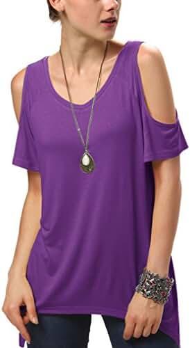 Urban CoCo Women's Vogue Shoulder Off Wide Hem Design Top Shirt - Medium - Violet