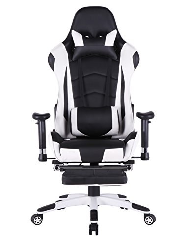 ergonomic gaming chair pc racing computer chair for gamer with footrestwhiteblack