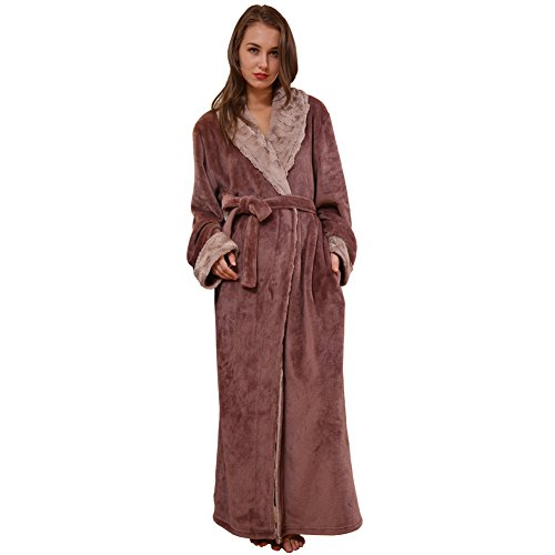 b02b9f01d3 SUNBABY Thicker Long Flannel Sleepwear Women Man Imitation Fur Collar  Bathrobes Warm Couple Pajamas