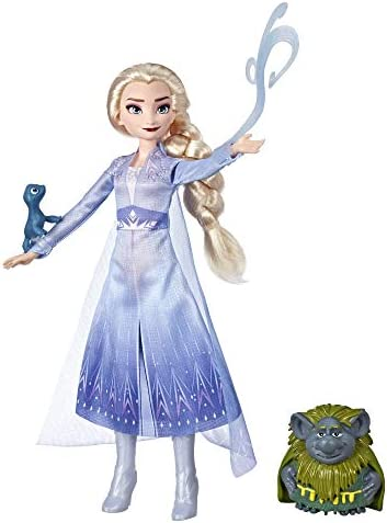 disney frozen elsa fashion doll in travel outfit inspired by frozen 2 with pabbie salamander figures
