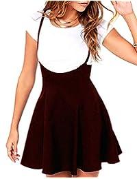 Para mujer Suspender faldas vestido Basic cintura alta versátil Flare Skater Falda Casual correas de hombro una línea Falda