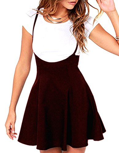 (Defal Women's Suspender Braces Casual Skirt Dress Basic High Waist Versatile Flare Skater Shoulder Straps Short Skirt (XXL, Wine Red))