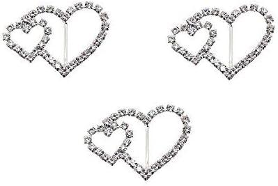 WedDecor 25mm x 25mm Diamante Deslizante Cuadrado Hebilla Brillantes Metal Cierres para Moda Mujer Accesorios, Tarjetas de Boda, Cubierta para Silla Cintos, Listones - Se Unió a Heart-2