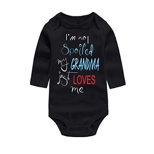 WINZIK Baby Boy Girl Bodysuit Romper Outfit I'm Not Spoiled My Grandma Just Loves Me Infant One-Piece Jumpsuit Shirt Clothing (Tag 3M, Black Grandma-Long Sleeve) ()