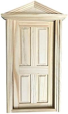 1 12 Dollhouse Miniature Diy 4 Panel Exterior Wooden Door