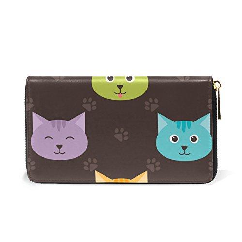 And Handbags Zip Around Organizer Clutch Paws Footprints Cats Womens Wallet Purses TIZORAX 7Hw6q6