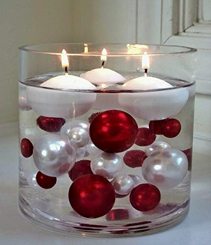 Floating No Hole Red & White Pearls - Jumbo/Assorted Sizes Vase Decorations + Includes Transparent Water Gels for Floating The Pearls