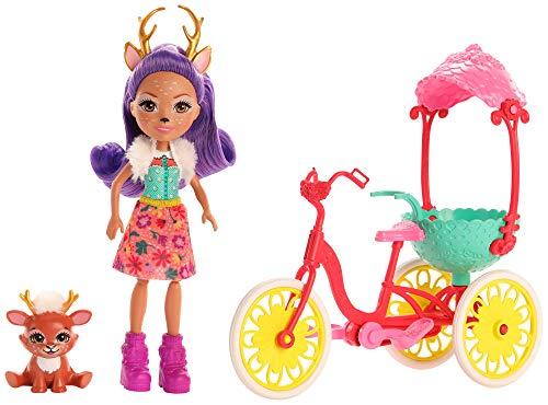 Enchantimals Muñeca Danessa Deer y su mascota Sprint en Bicicleta (Mattel GJX30)
