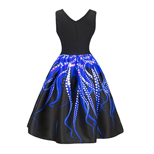 Mysky Women Clearance, Women Vintage Printing Bodycon Sleeveless Casual Evening Party Prom Swing Dress (Blue, XL)