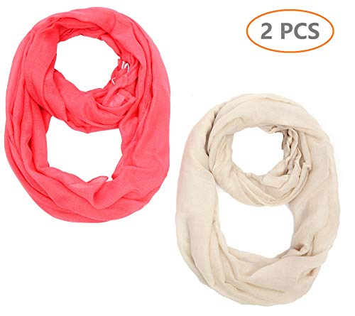 Light weight Plain Solid Infinity Scarf For Women Round Circle Loop 36x36(2) Inches 2PCS for Set Pink Beige