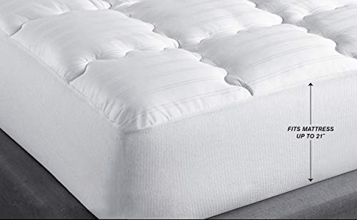 - Allrange Luxury Quilted Mattress Pad (Queen), 400TC Cotton, Skirt Stretch-Up-to 21