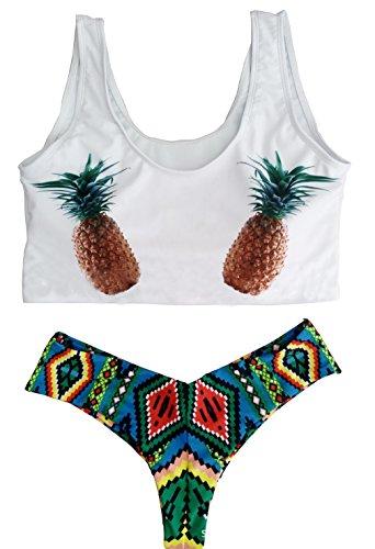Cute Bikini White Pineapple Tank Top Tribal Brazilian Bottom Bathing Swim Suit Swimwear (Medium (US 0))