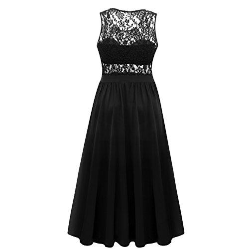 Pyramid Top Women's Plus Size Floral Lace Top High Slit Maxi Long Cocktail Dress (US20-22, Black)