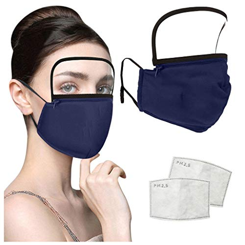 NOMENI 4PCS Face Protection+8PCS Filter, Adult Outdoor Washable Reusable Zipper Integrated Protective Cover With Filter And Detachable Eye Protection (Multicolor (4+8pcs))