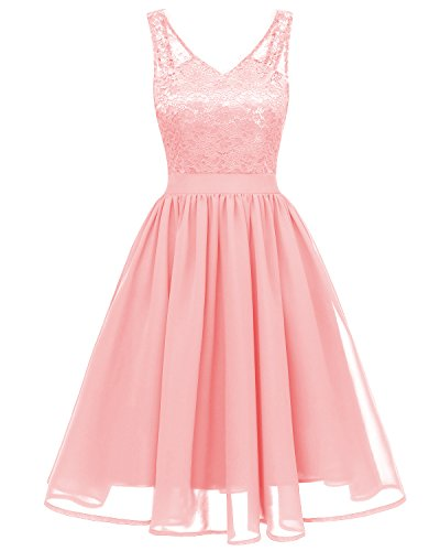 MILANO BRIDE Women's Vintage Floral Lace V-Neck Homecoming Cocktail Party Dress
