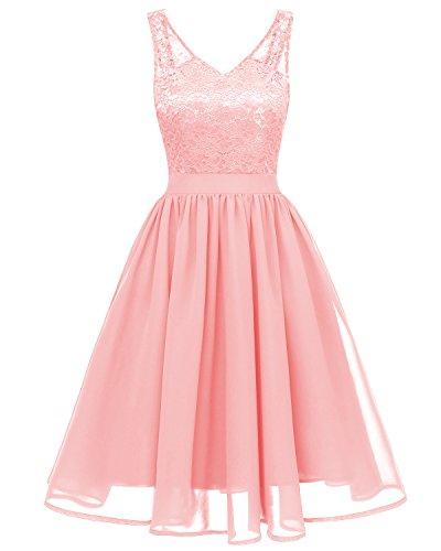 EvoLand Womens Plus Size Pink Sleeveless Lace Chiffon Dress Dresses for Women]()
