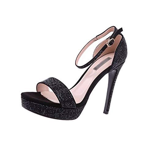 Bling Stiletto Wedding Fetish Rhinestone Red Sandals Designer Platform High Heels Pumps Strap,Black,37