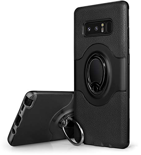 Note 8 Case, Galaxy Note 8 Case, Dairnim Ring Stand Dual Layer TPU Bumper Anti-Scratch Shockproof Support Magnetic Car Mount Holder Thin Soft Case Compatible with Samsung Galaxy Note 8, Black