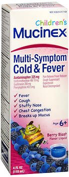 Mucinex Children's Multi-Symptom Cold and Fever Liquid, Berry Blast, 4 oz