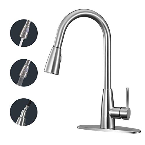 ANZA Kitchen Faucet Single Handle High Arc Faucet with Pull Down Sprayer, Modern Commercial Dual Function Kitchen Sink Faucet with 2 Spray Modes, 360° Swivel Arc Gooseneck, Corrosion & Rust-Resist