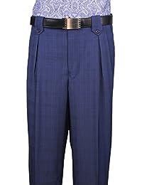 Mens Dress Wide Leg Pants ,Wool, Blue Plaid art.5551017