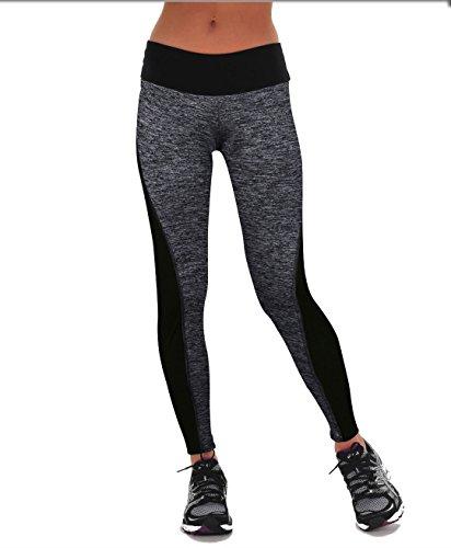 DAS Leben enge lange Yogahose, Laufhose, Strumpfhosen, Jogginghose, Leggings für Damen (L, grau in der Front)