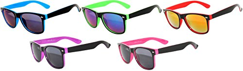 New Fashion Vintage Two -Tone Smoke Lens Sunglasses Retro 80's (5_Pairs - Blue_Green_Orange_Purple_Yellow) ()