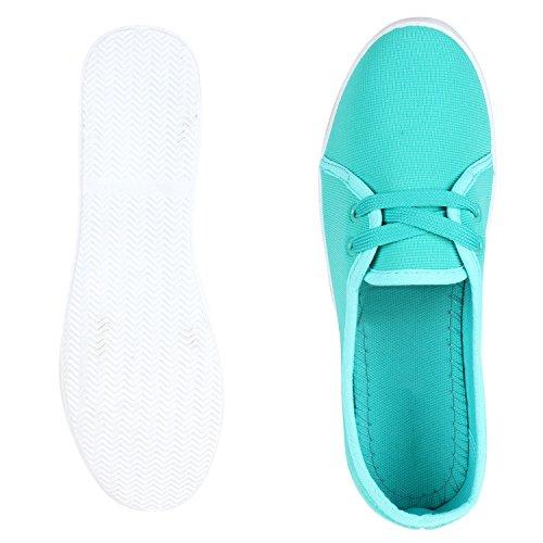 Sportliche Damen Ballerinas Bequeme Basic Schuhe Stoff Flats Aus angenehmen Obermaterial Gr. 36-41 Türkis Weiss