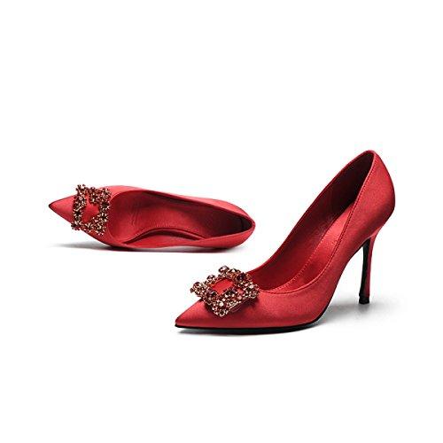 Frauen Strass Sexy Stiletto High Heels Sommer Sandalen Party Hochzeit Pumps Damen Elegante Spitz Schuhe Red