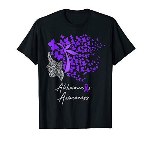 Alzheimer's Awareness Shirt Alzheimers Purple Butterflies ()