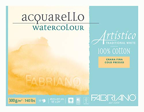 Fabriano Artistico 140 lb. Cold Press 10 Sheet Block 18x24