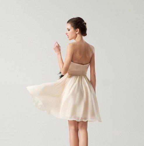 Dearta Une Ligne Courte / Mini-robes De Demoiselle D'honneur En Mousseline De Soie Champagne Femmes