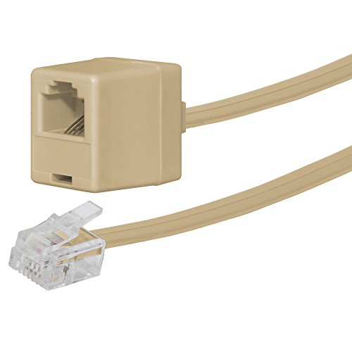 AMZER 25 Feet Telephone Line Extension Cord Heavy Duty 4 Conductor Cable With Extension Coupler - Ivory (6p4c Wall Modular)