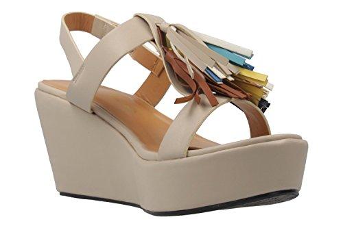 ANDRES MACHADO - Damen Keil-Sandaletten - Beige Schuhe in Übergrößen