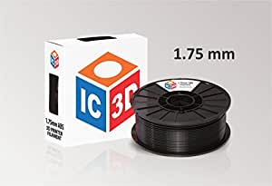IC3D Black 1.75mm ABS 3D Printer Filament - 2.1lb Spool - Dimensional Accuracy +/- 0.05mm - Professional Grade 3D Printing Filament - MADE IN USA