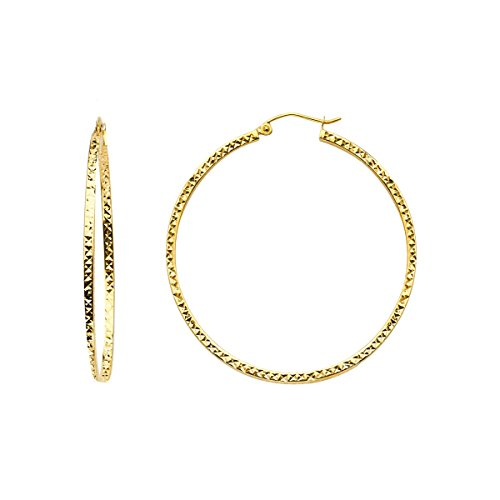 TGDJ 14K Yellow Gold Full Diamond Cut Hollow Square Tube Hoop Earrings (Diameter - 34 MM) by Top Gold & Diamond Jewelry