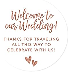 Andaz Press Out of Town Bags Round Circle Gift Labels Stickers, Welcome to Our Wedding Thanks for Traveling to Celebrate with Us, Faux Rose Gold Glitter, 40-Pack, for Destination OOT
