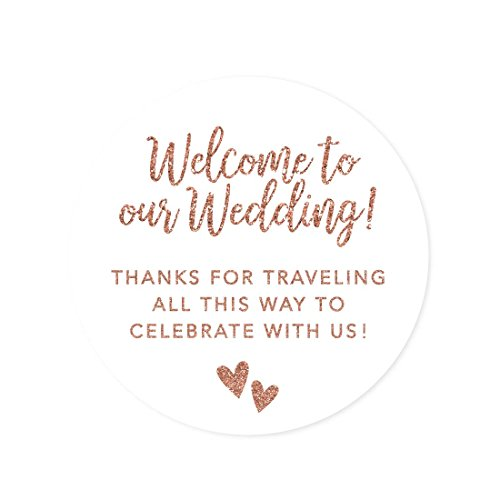 Andaz Press Out of Town Bags Round Circle Gift Labels Stickers, Welcome to Our Wedding Thanks for Traveling to Celebrate with Us, Faux Rose Gold Glitter, 40-Pack, for Destination -