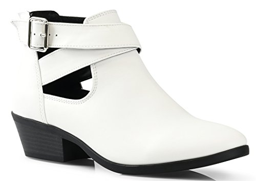 LUSTHAVE Women's Jen Stacked Chunky Low Heel Cut Out Cross Strap Ankle Casua Bootie Boots Buckle Back Zipper Heels White 9 (Cross White Boots)