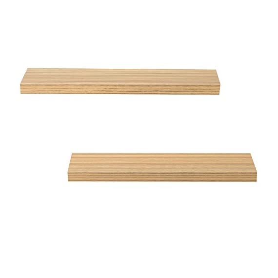 Heselian 24 Inch Floating Shelf, Floating Shelves Floating Wall Shelf, Oak(Set of 2) - Made from MDF & laminate Great for home, office & dorm, Decorative and functional. Displays pictures, books,toy and other decor - wall-shelves, living-room-furniture, living-room - 41BLdtbZnML. SS570  -
