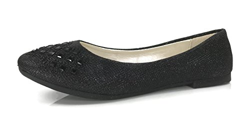 Womens Crystal LN-62W Rhinestone Ballet Flats Slip On Shoes, Runs 1/2 Size Small Black, 7 (Womens Flat Dress Shoes)