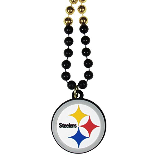 Necklace Beaded Nfl - NFL Pittsburgh Steelers Mardi Gras Necklace, 36