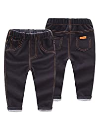 Leoie Boys Girls Fashion Jeans Solid Color Long Trousers with Fine Sewing Lines