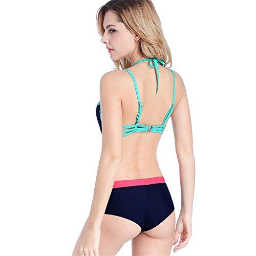 De empalme de color sólido en forma de T cuatro pequeñas esquinas bikini de tres piezas traje de baño femenino 3