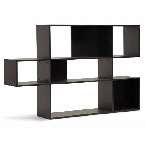 Baxton Studio Lanahan 3-Level Modern Display Bookshelf, Dark Brown