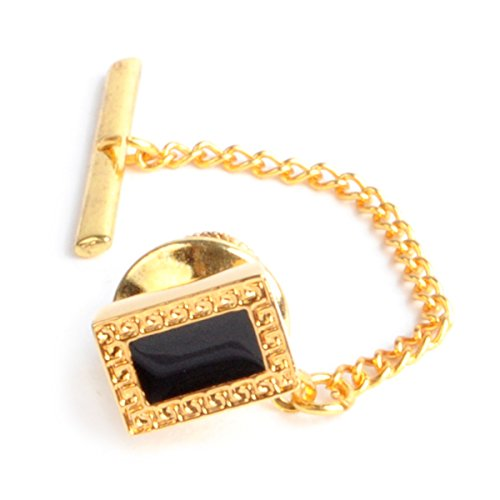 Gold Gold Tone Tie Pin (Rectangle Dark Screen Silver & Gold Tone Tie Tacks)