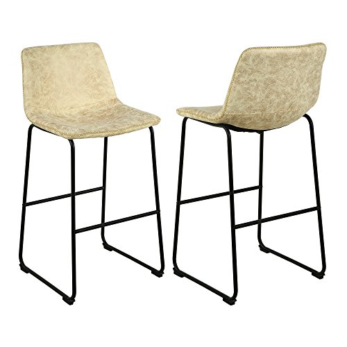 - LSSBOUGHT Vintage Barstools with Suede Fabric, Set of 2 (Cream)
