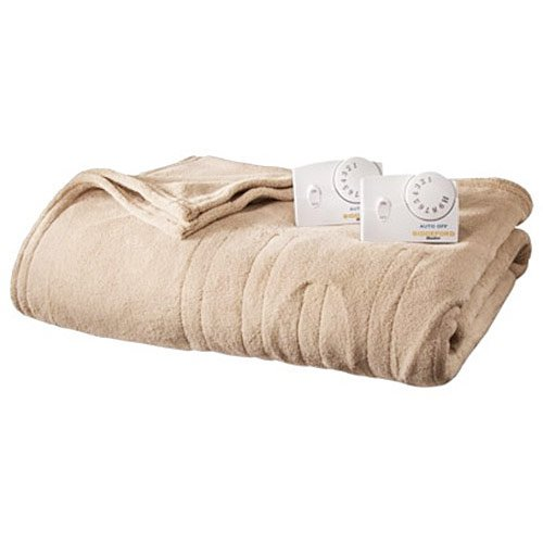 13213 Micro Plush heated electric king-size blanket, linen.